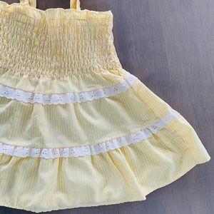 Pale yellow sundress lace frills VTG homemade 2-3
